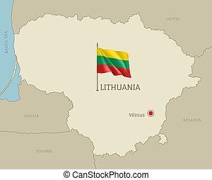 térkép, litvánia, editable, terület, határok