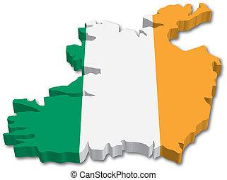 térkép, lobogó, írország, 3