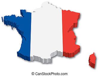 térkép, lobogó, 3, franciaország