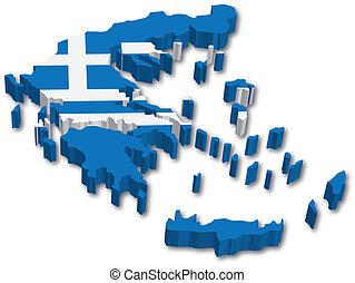 térkép, lobogó, 3, görögország