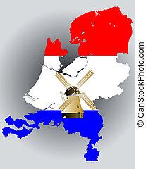 térkép, lobogó, befest, hollandia