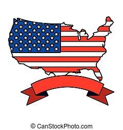 térkép, lobogó, egyesült, háttér, fehér, egyesült államok