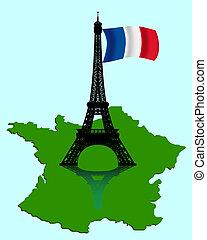 térkép, lobogó, eiffel emelkedik, franciaország