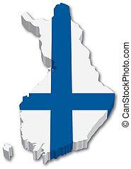 térkép, lobogó, finnország, 3