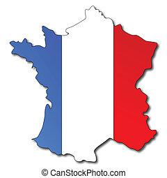 térkép, lobogó, francia france