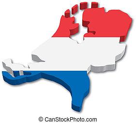 térkép, lobogó, hollandia, 3