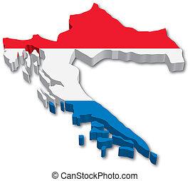 térkép, lobogó, horvátország, 3