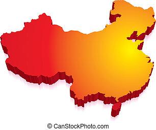 térkép, lobogó, kína, 3
