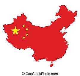 térkép, lobogó, kína, white háttér