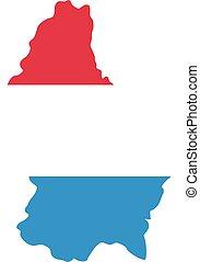 térkép, lobogó, luxemburg