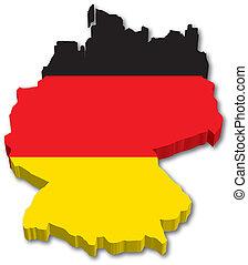 térkép, lobogó, németország, 3