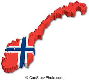 térkép, lobogó, norvégia, 3