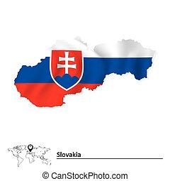 térkép, lobogó, slovakia
