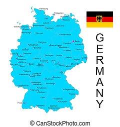térkép, lobogó, vektor, németország, háttér, fehér