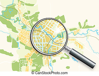 térkép, lupe, város