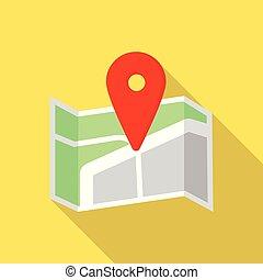 térkép, mód, gombostű, lakás, kereszt, ikon, út