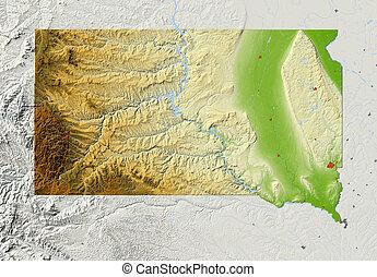 térkép, megkönnyebbülés, south dakota, árnyékolt