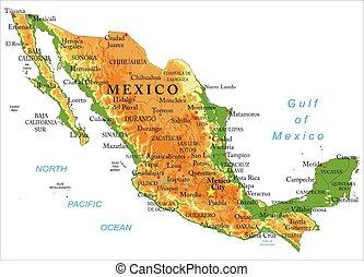 térkép, mexikó, fizikai