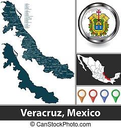 térkép, mexikó, veracruz