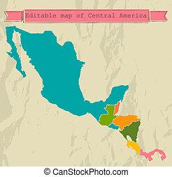 térkép, minden, központi, editable, countries., amerika