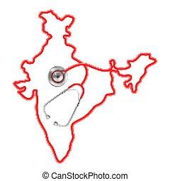 térkép, mindenfelé, orvosi, háttér, india, sztetoszkóp, fogalom