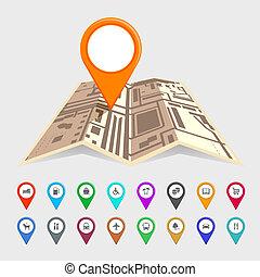 térkép, mutató, állhatatos, városi, ikonok