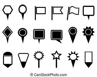 térkép, mutató, ikonok, navigáció