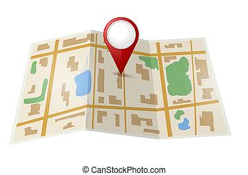 térkép, mutató, piros