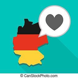 térkép, németország, játék, szív, kártya, piszkavas, aláír