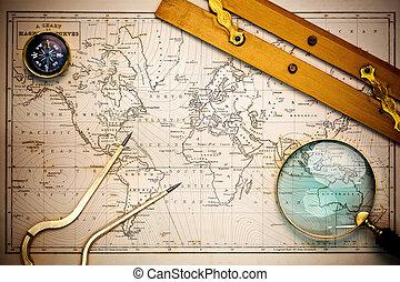 térkép, objects., öreg, hajózási