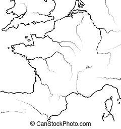 térkép, occitanie, lorraine., normandia, aquitaine, lands:, franciaország, chart., francia, provence