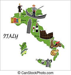 térkép, olaszország, felvázol, jellegzetes