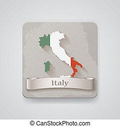 térkép, olaszország, flag., ábra, vektor, ikon
