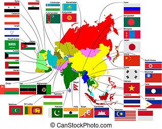 térkép, ország, ábra, vektor, ázsia, flags.