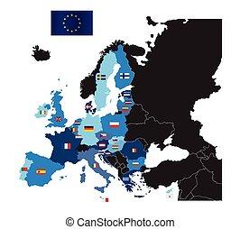 térkép, országok, egyesítés, tag, zászlók, európai