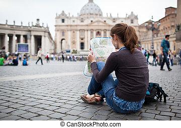 térkép, peter's, női, város, tanulás, szt., fiatal, róma, derékszögben, meglehetősen, vatikán, természetjáró