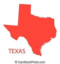 térkép, piros, texas