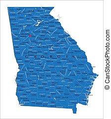 térkép, politikai, állam, grúzia