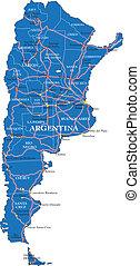 térkép, politikai, argentína