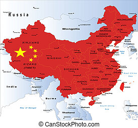 térkép, politikai, kína