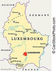 térkép, politikai, luxemburg