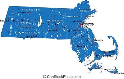 térkép, politikai, massachusetts, állam