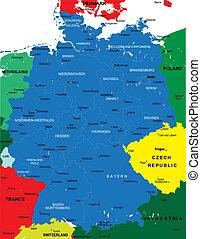 térkép, politikai, németország