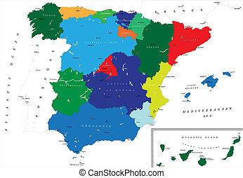 térkép, politikai, spanyolország