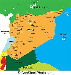 térkép, politikai, szíria