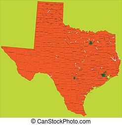 térkép, politikai, texas