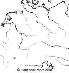 térkép, prussia, német, lands:, chart., bajorország, saxonia, teutonia, austria., geográfiai, németország