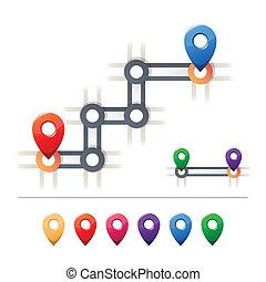 térkép, rendeltetési hely, ikonok