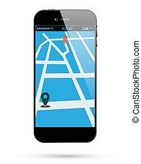 térkép, smartphone, elhelyezés