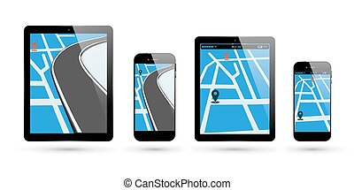 térkép, smartphone, elhelyezés, tabletta pc